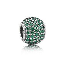 Genuino PANDORA grano de plata esterlina S925 Ale Verde Pave bola encanto - 791051CZN