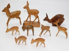 Lot mit 9x alte geschnitzte Holz Figur, Reh Rehe  #J618