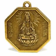 "KWAN YIN FENG SHUI CHARM 1"" Chinese Brass Pendant Bagua Protection Good Luck"