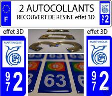 2 adesivi per targa auto EFFETTO DOMING 3D RESINA TUNING MARTINICA - 972