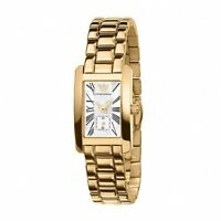 NEW EMPORIO ARMANI AR0175 GOLD PEARL DIAL LADIES CLASSIC WATCH - 2 YEAR WARRANTY