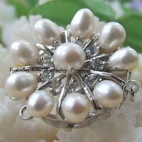 32mm Multi Pearls Sun Flower Shape Silver Plated Alloy Brooch For Women Jewelry