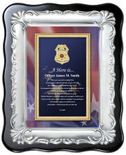 Law Enforcement Policeman Sheriff Gift Brush Silver Plaque Birthday Love Husband