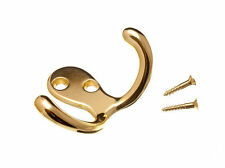 NEW TWIN HAT AND ROBE COAT HANGER CLOTHES HOOK BRASS PLATED + SCREW QTY  10)