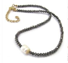 Delicate Freshwater Pearl Black Shimmering Glass Beads