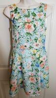 FOREVER 21 Womens Floral Small Sleeveless Mint Peach Sleeveless Sheath Dress B5