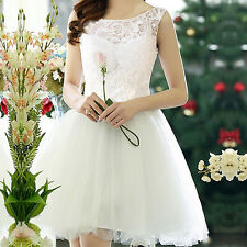 Women Sleeveless Lace Party Bodycon Cocktail Evening White Short Mini Dress S