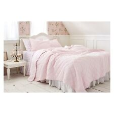 New Simply Shabby Chic Hand Stitched Diamond Pink Velvet Quilt - Twin