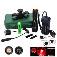 6000LM Q5 Zoomable LED Tactical Flashlight Torch 18650 Hunting Lamp Switch+Mount