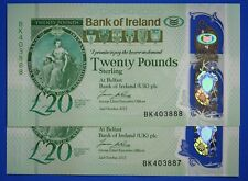 More details for 2x 2017 bank of ireland twenty pound £20 consecutive banknotes polymer [21125]