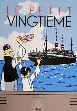 Affiche Sérigraphie Hergé Tintin Le Lotus Bleu Bateau 35x50 cm