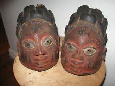 New listing Antique Yoruba Twin Gelede Masks Representing Ibejis