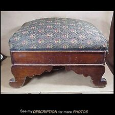 Antique 1840-60s Empire Mahogany Scroll Leg Footstool