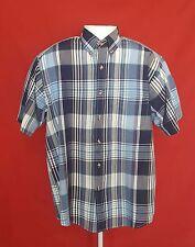 Wentworth Mens Medium Blue Plaid Short Sleeve Button Down Collar Casual Shirt