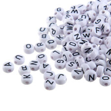 200PCS White Flat Round Acrylic Alphabet/Letter Spacer Loose Beads A-Z 4*7MM
