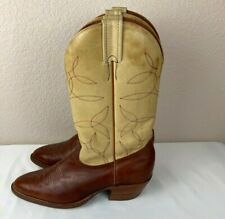 Vintage Men's Two Tone Brown Tan Leather Embroidered Western Cowboy Boots 9.5