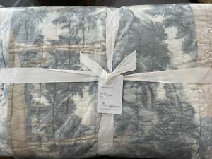 Pottery Barn Island Patchwork Handcrafted Cotton Quilt - King/Cal - Coastal NEW