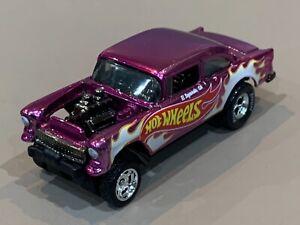 Hot Wheels '55 Chevy Gasser Custom 'Hot Wheels' Spectra Pink Metal Base & RRs