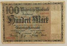 GERMANY 100 MARK 1922  Bayerische Notenbank-Bavarian  P-S923  / 6 Digit /