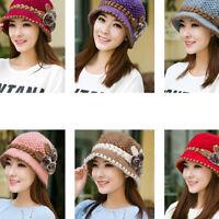 Women Warm Crochet Knitted Flowers Decorated Ears Hat Slouch Ski Cap Beanie Hat