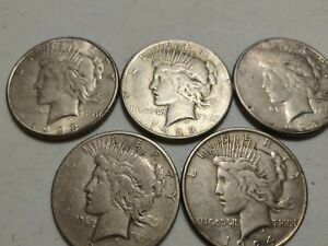 Lot of 5 Peace Dollars 1923-1926 90% Silver