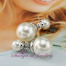 18K Rose WHITE GOLD GF Wedding SILVER 3 Way Double PEARL Womens EARRINGS L352