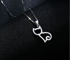 Cat Charm Pendant  925 Sterling Silver Chain Necklace Women Jewellery Xmas Gifts