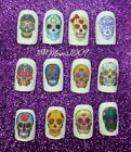 Sugar Skull Nail Art WATER DECALS Day of the dead Nail decals