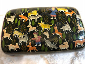Vintage Paper Mache Black Laquer Box Animals Hunter Forest Rounded Lid