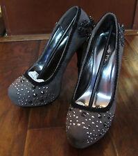 "Women's Hades Amina Embellished 5.5"" Heels – Size 8 – Gothic Steampunk – Grey"