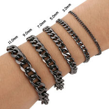 8.2 INCH  MENS Stainless Steel Chain Bracelet 3/5/7/9/11/mm Cuban Curb Link