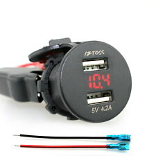 Motorcycle Boat Car 4.2A Dual USB Voltmeter Power Plug Socket Charger Adapter