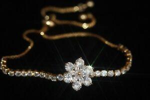 """Created Diamond Rotating Flower """"GOOD LUCK"""" Bracelet (Y) Adjustable"""