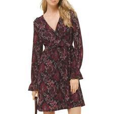 New $135 Michael Kors Short V-Neck Long-Sleeve Paisley Dress Black Maroon Sz PS