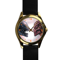 Alien Versus Predator Film Cartoon Gold Quartz Black Leather Strap Wrist Watch