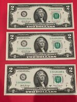 ✯Lot of 3 NEW CRISP Uncirculated Two Dollar Bills $2 Sequential 2017A Series✯