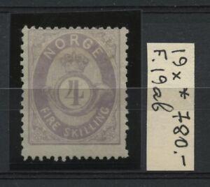NORWAY Classic Scott 19var. Facit 19ab MH CV$780.00