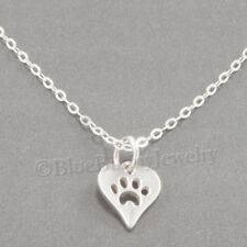 """Tiny PAW PRINT IN HEART Charm Pendant STERLING SILVER Necklace 925 xs Small 18"""""""