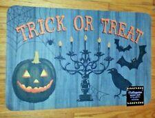 Halloween accent DoorMat trick or treat pumpkin Gray Rectangular bird Natco Echo