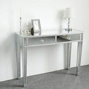 Modern Spiegel Schminktisch Konsole Schminktisch Silber Glas mit 2 Schubladen