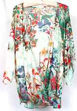 Cato Women's Floral Sheer Short Sleeve Top Low Cut Wrap Style Shirt Size 18/20