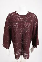 Zara Womens Lace Blouse Shirt Top Floral Burgundy Maroon Semi Sheer 2731/242 NWT