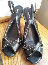 "Black Slingbacks Womens Size 10 M Solid 4"" High Heels Open Toe Synthetic Bongo"