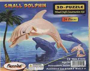 3D Natural Wood Small Dolphin Puzzle (3D Wood Puzzle 24 pieces)