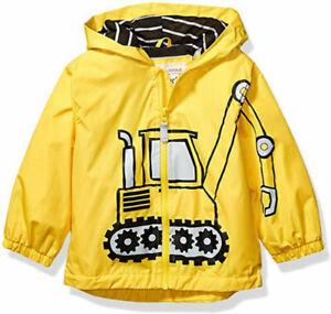 Carter's Boys Yellow Tractor Rain Slicker Jacket Size 2T 3T 4T 4 5/6 7