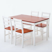 5 Piece Pine Wood Dining Table Set with 4 Chairs Breakfast Kitchen Furniture