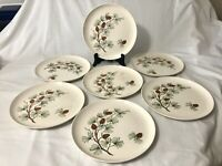 7 Vtg Mid Century Stetson Marcrest Pine Cone Dinner Plates Dishes Green & Brown