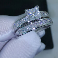 Sparkly White Clear Shiny Cubic Zircon Silver Colour Wedding Band Ring L1/2, 6