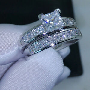 Silver Colour Wedding Band Ring L1/2, 6 White Clear Cubic Zircon Two Ring Set