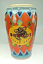 Bongos Cuban Cafe Congo Mug Drum Orange 16oz. Straw hole Lid USA Seller